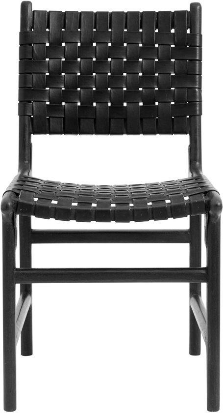 Nordal eetkamerstoel gevlochten leer hout zwart 85 x 47 x 52 (2 stuks)
