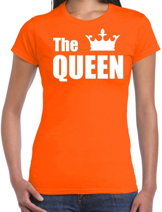 The queen t-shirt oranje met witte letters en kroon voor dames - Koningsdag - fun tekst shirts 2XL