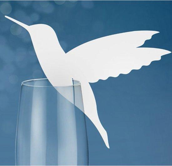 Naamkaartje vogel voor glas