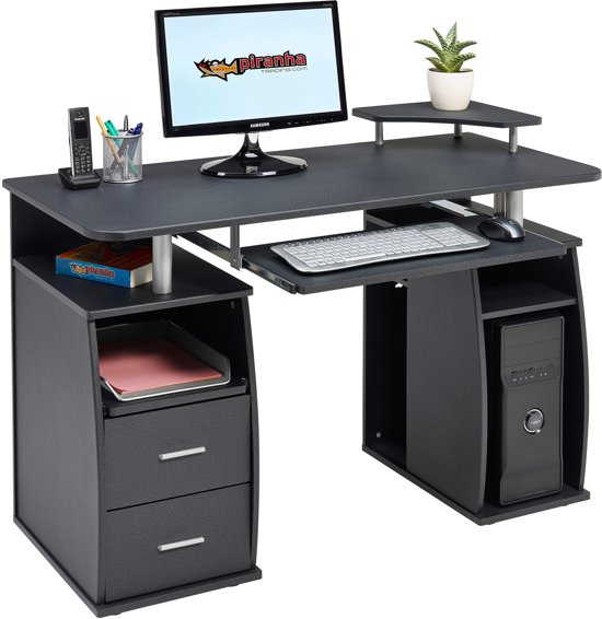 piranha tetra bureau antraciet zwart 120 cm laden opslagruimte pc 5g buro. Black Bedroom Furniture Sets. Home Design Ideas