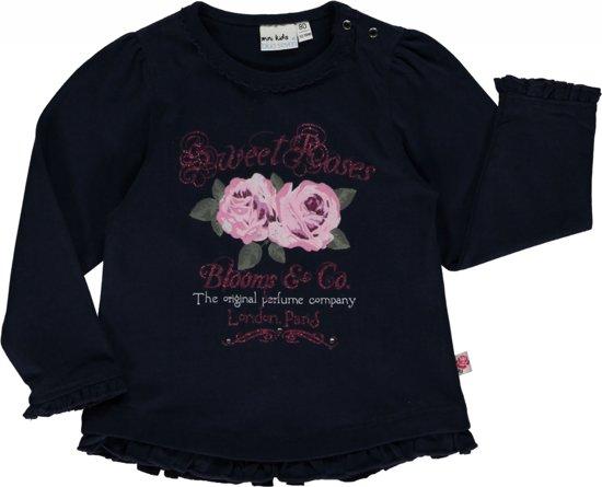 Blue seven babykleding - Blauwe  sweater met rozen - Maat 62