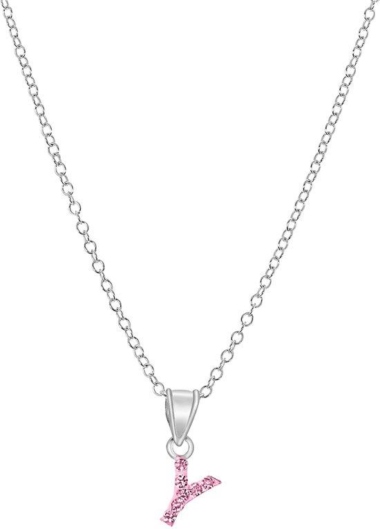 Lucardi Initialen Letter Y Ketting - Kinderen - Zilver met roze kristal
