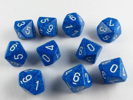 Afbeelding van het spel 10 Vlakken Tienzijdige Dobbelsteen Speckled Water 16mm Set van 6 stuks
