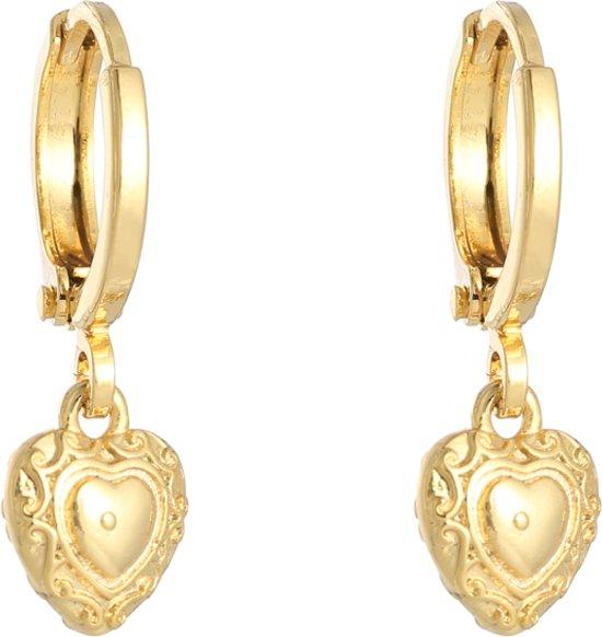 Oorbel creool Love Hearts Goud|kywi jewelry