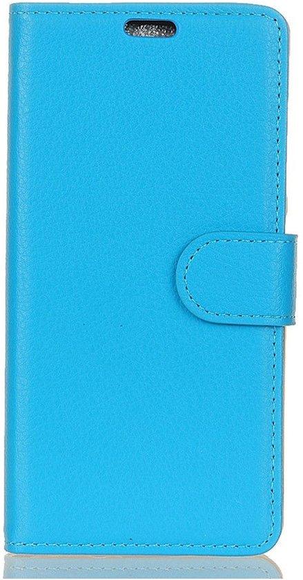 Shop4 - Wiko Lenny 5 Hoesje - Wallet Case Lychee Blauw