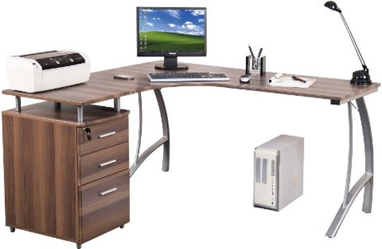 hjh office castor bureau hoekbureau a klasse hoekbureau hangkast walnoot z. Black Bedroom Furniture Sets. Home Design Ideas