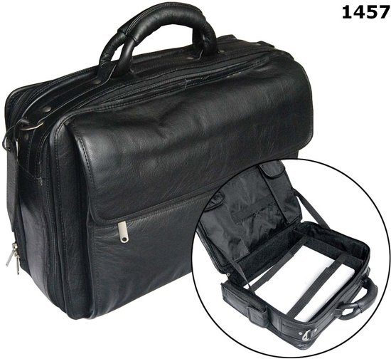 "Tassia Cow Nappa Leather 16"" Laptop Briefcase - Zakentas (1457)"