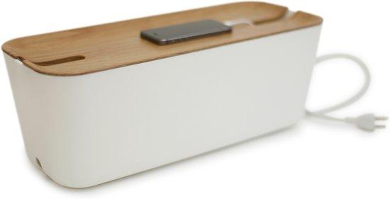 Bosign XL kabelbox/opbergbox wit/houten deksel - extra groot 45 x 18 x 17 cm