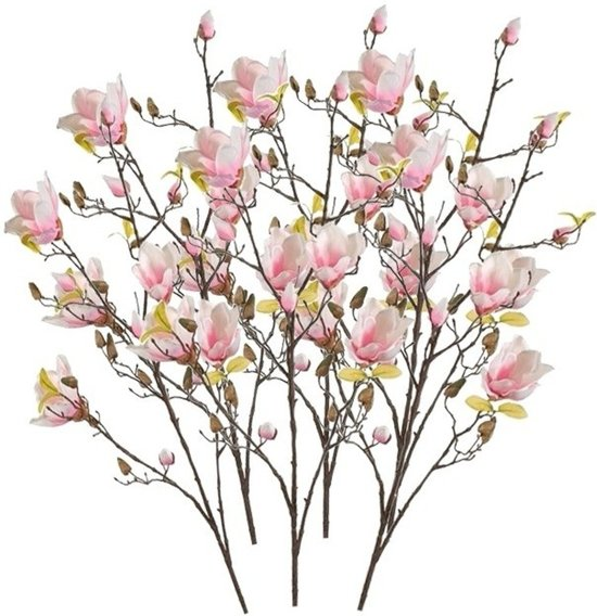 bol.com | 6x Roze kunst Magnolia tak 105 cm - Kunstbloemen