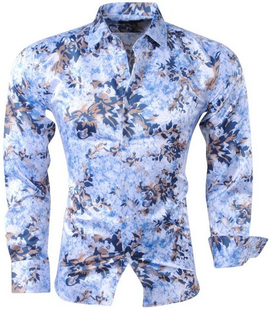 Heren Overhemd Blauw.Bol Com Pradz Heren Overhemd Met Trendy Design Wit Blauw