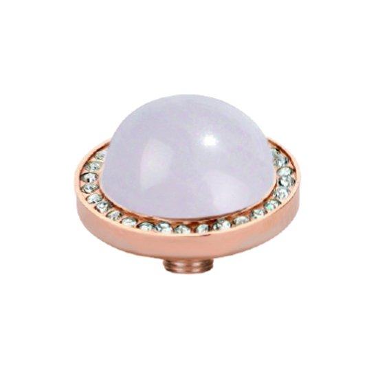 Melano vivid white cz zetting - dames - rosekleurig - rose quartz - 7 mm