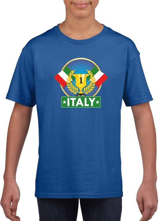 Blauw Italiaans kampioen t-shirt kinderen - Italie supporter shirt jongens en meisjes XL (158-164)