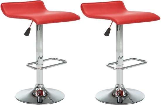 Barkruk Kunstleer Rood 2 STUKS / Bar kruk / Hoge Stoel / Bar stoeltje / Bar Krukje / Fauteuil / Lounge Stoel