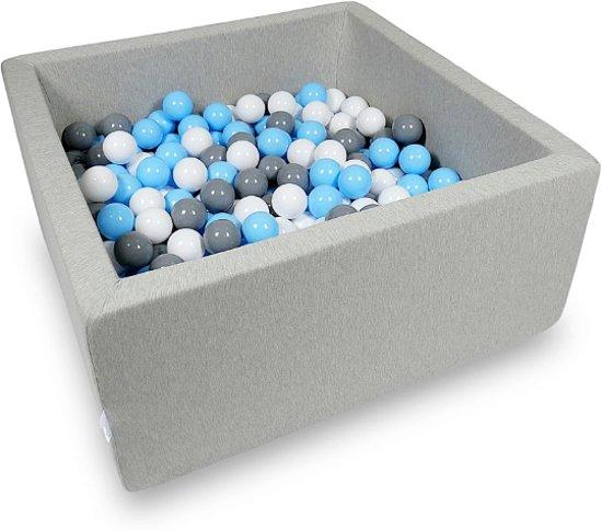 Ballenbak - 400 ballen - 90 x 90 x 40 cm - ballenbad - vierkant grijs