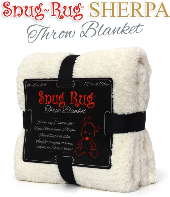 Snug Rug Sherpa - Plaid - Extra Dik - Creme / Wit - Premium Throw Deken - TV Deken - Knuffeldeken - Woondeken - Fleece Deken