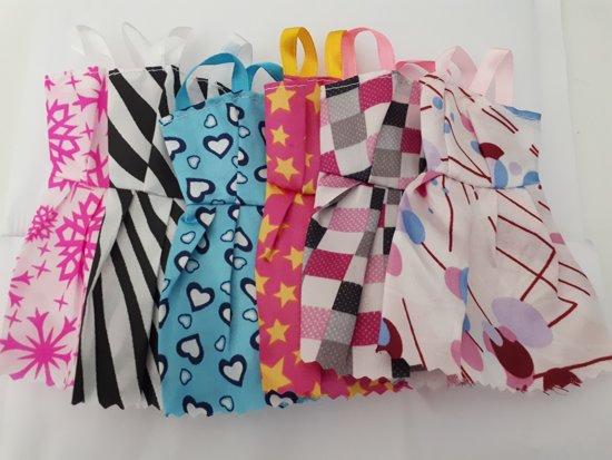 Poppenkleertjes | Geschikt voor Barbie |Set van 6 jurkjes | Barbie kleding | Barbie kleren | Poppenjurk