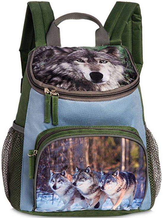 Animal Pictures Wolf Rugzak - 30 cm - Olijfgroen