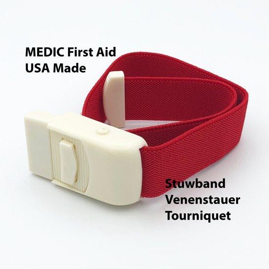 MEDIC First Aid Stuwband | Rood | Tourniquet | USA Made | EHBO | First Aid Kit |Stuwband voor artsenpraktijken en ziekenhuizen | Rode stuwband voor bloedafname