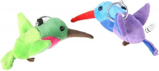 Pluche kolibrie sleutelhanger 12 cm  Groen