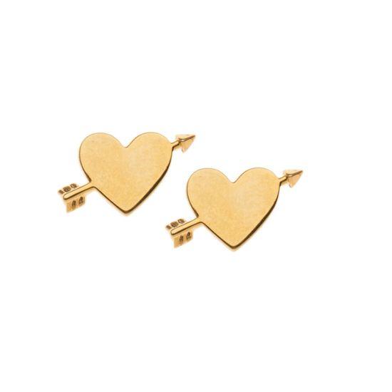 Orelia oorbellen - hart met pijl - goudkleurig - 0,5 cm