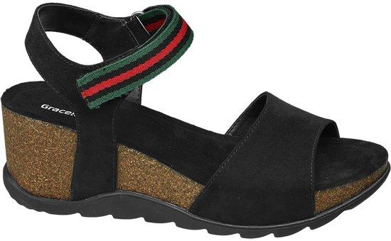 | Graceland Dames Zwarte sandaal sleehak Maat 36