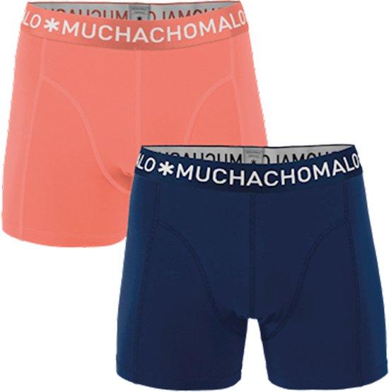 MuchachoMalo - Heren 2-pack Boxershorts Solid Blauw - L