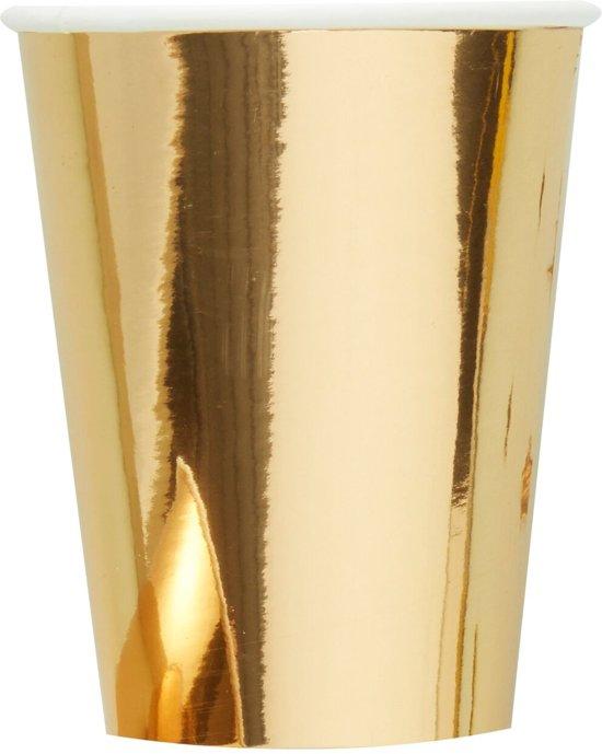 Gouden wegwerp bekers 25 cl (8 stuks) Valentinaa