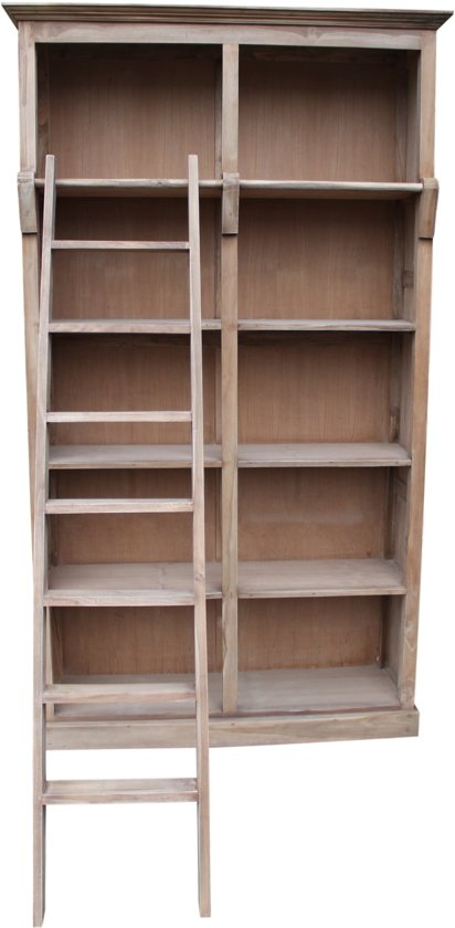 bol.com | HSM Collection - Boekenkast met trap - blank - teak