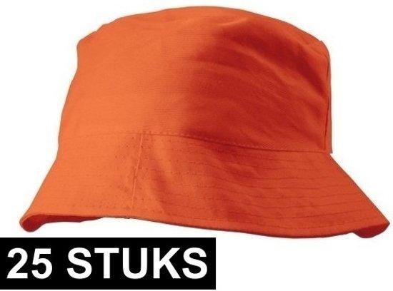 25x Oranje vissershoedje/zonnehoedje 57-58 cm - Oranje zomerhoeden voor volwassenen