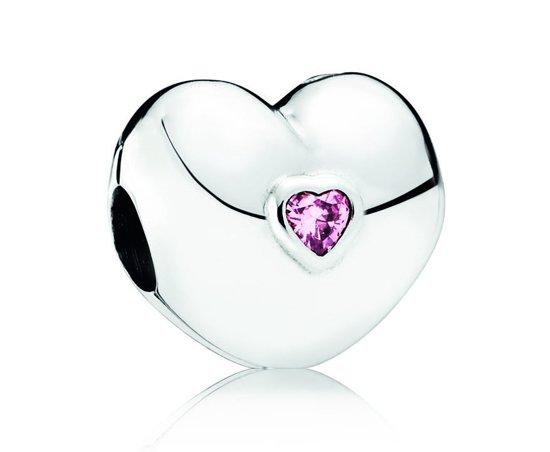 Pandora Clip-Stopper Bedel zilver ´Pink Heart' 791981PCZ