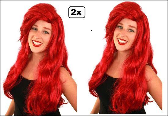 2x Pruik luxe rood lang Ariel