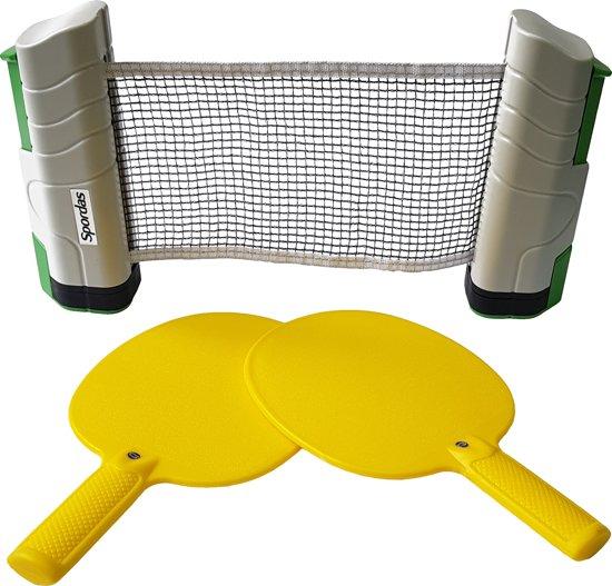 Tafeltennis | Pingpong Set 2 batjes + oprolbaar Tafeltennis Net + 6 ballen