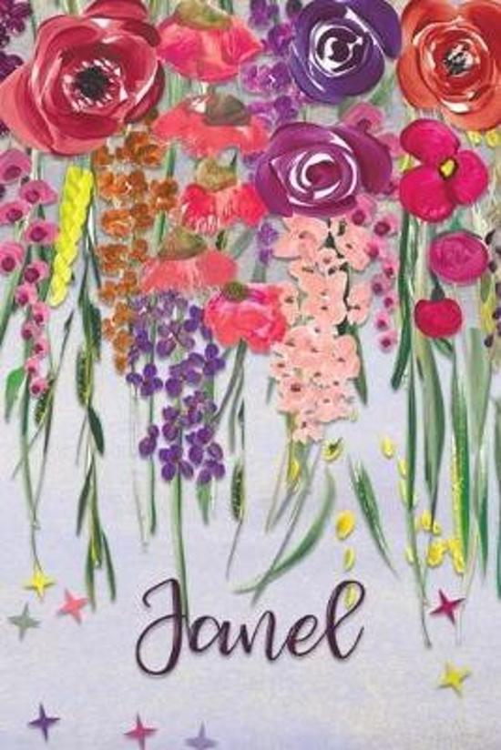 Janel: Personalized Lined Journal - Colorful Floral Waterfall (Customized Name Gifts)