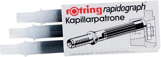 12x Rotring capillair inktpatroon Rapidograph, niet-etsende inkt