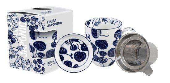 Tokyo Design Studio - Flora Japonica Mug Giftset Ivy w/Strainer and Tea Tip 380ml