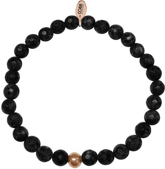 CO88 Collection 8CB-17005 - Armband met tag - staal en onyx natuursteen 6 mm - one-size - zwart