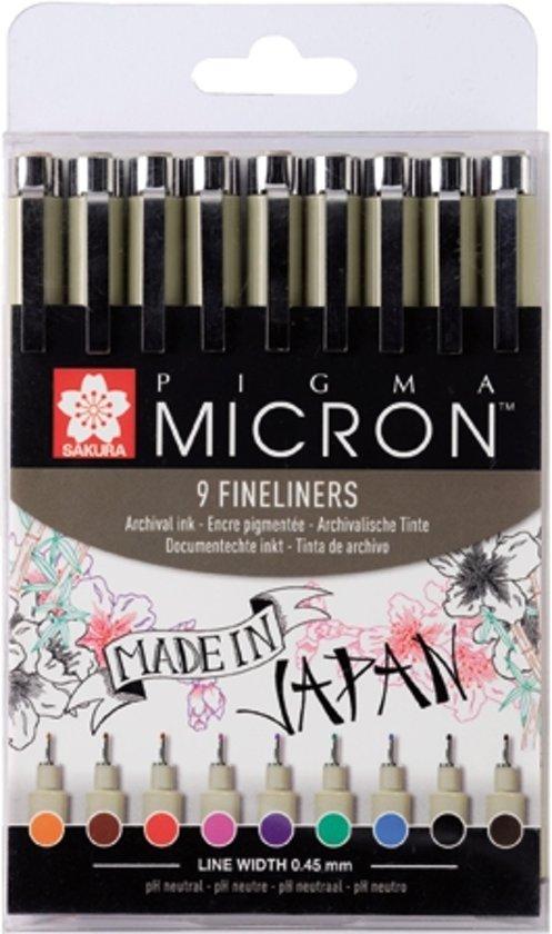 Pigma Micron 9 kleuren fineliners