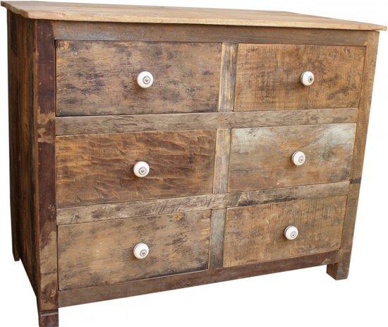 otentic design sloophouten commode 6 lades naturel. Black Bedroom Furniture Sets. Home Design Ideas
