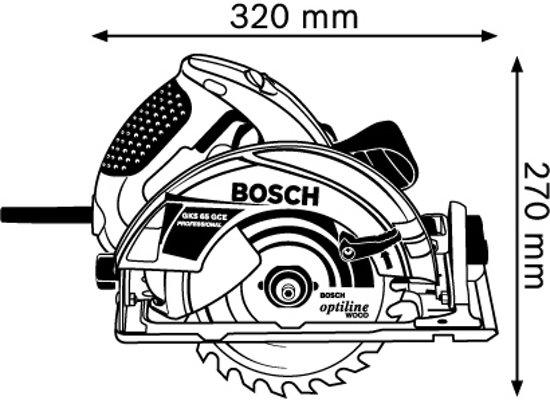 Bosch Professional GKS 65 GCE Cirkelzaag - 1800 Watt - 65 mm zaagdiepte - Inclusief zaagblad, FSN 1600 Geleiderail en L-BOXX