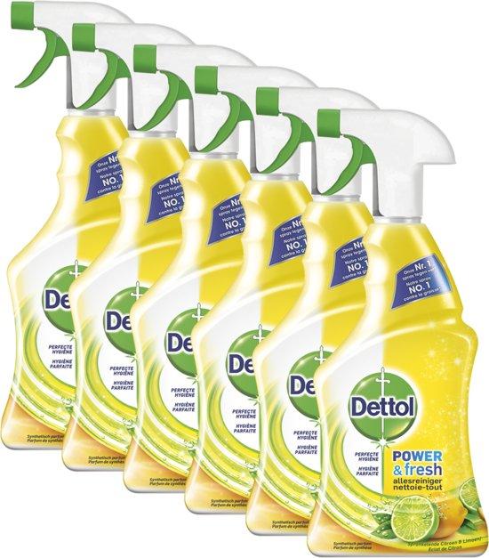 Dettol Power & Fresh - Allesreiniger Spray - Citroen & Limoen - 6 x 500 ml - Grootverpakking