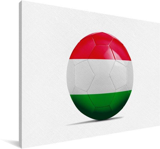 De vlag van Hongarije op een voetbal Canvas 60x40 cm - Foto print op Canvas schilderij (Wanddecoratie woonkamer / slaapkamer)
