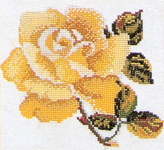 Thea Gouverneur Borduurpakket 815A Roos geel - Aida stof 100% katoen