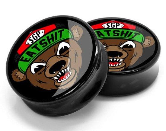 Eat Shit Bear Plug - 10 mm (per set) ©LMPiercings