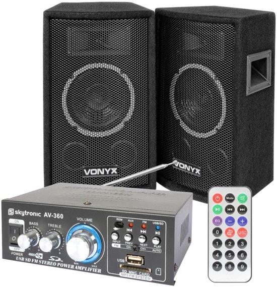Skytec SL6 speakerset met AV-360 versterker en kabels