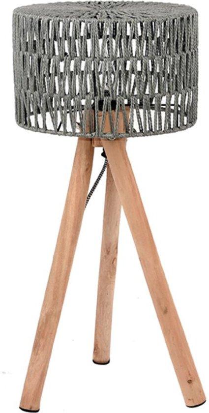 LABEL51 - Tafellamp Stripe Grijs - Geweven katoen - 32x32x69 cm