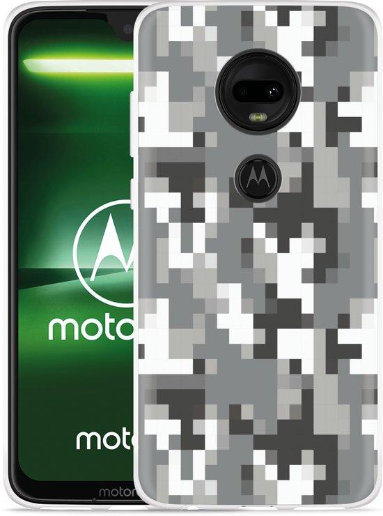 Moto G7 Hoesje Pixel Camouflage Grey