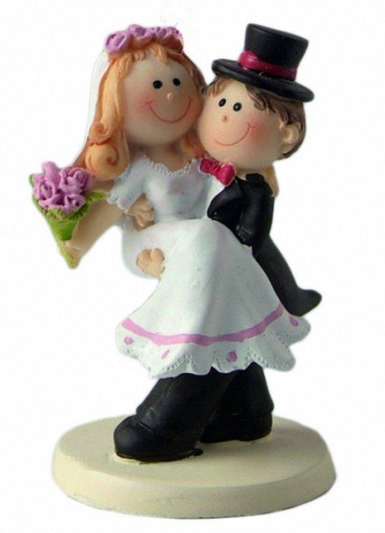 bol trouwfiguurtje bruid in de armen merkloos