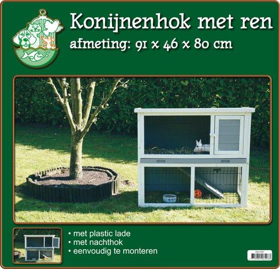 Houten Konijnenhok met Ren - Wit Grijs - 91x46x80 cm