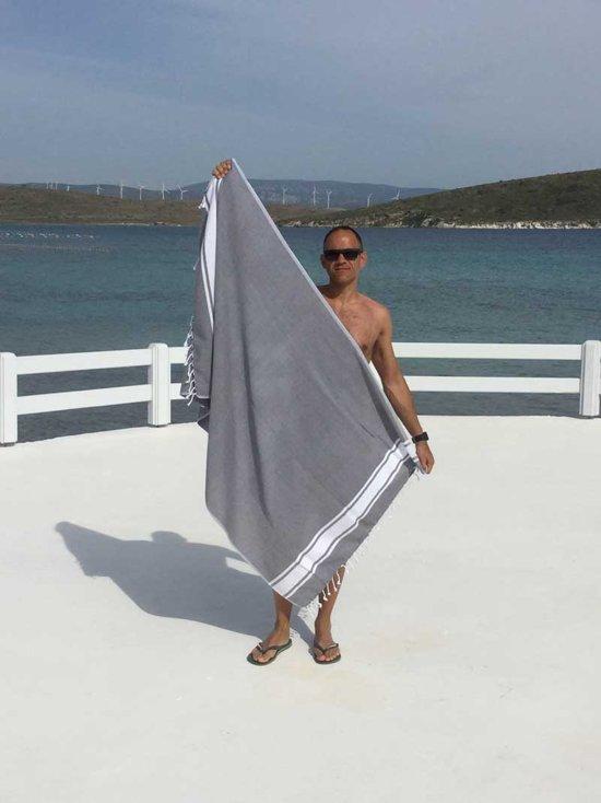 ZusenZomer Extra lange Hamamdoek xl SOL  Saunadoek hamam handdoek  100x200 - donkergrijs