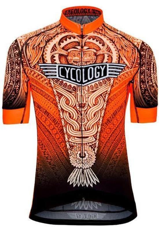 Cycology Aztec jersey Performance Fit - heren fietsshirt - maat XL - oranje wit zwart